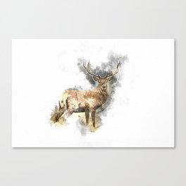 Watercolor Deer Canvas Print