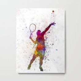 tennis player at service serving silhouette 01 Metal Print
