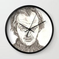 jack nicholson Wall Clocks featuring Jack Torrance by Travis Hess