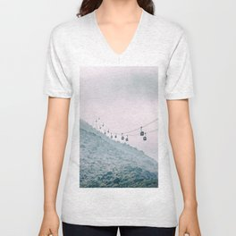 Cable car on a misty mountain high up Unisex V-Neck