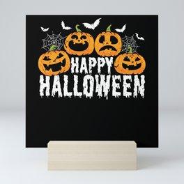 Halloween Costume Monster pumpkin and bats Mini Art Print