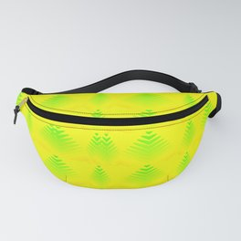 Mother of pearl pattern of melon hearts and stripes on a yellow background. Fanny Pack