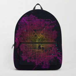 Las Vegas City Map of the United States in Neon Lights Backpack