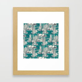 Seattle indigo teal Framed Art Print