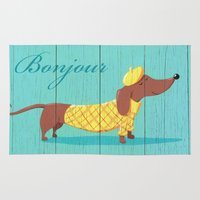 bonjour Area & Throw Rugs featuring Bonjour Chiot by Steve Haskamp