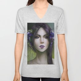 Viola - Girl with purple flowers in her hair Unisex V-Neck