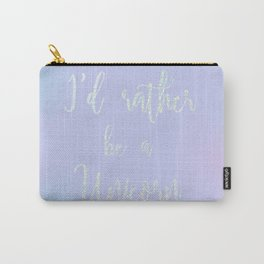 I'D RATHER BE A UNICORN GLITTER SCRIPT PRINT Carry-All Pouch