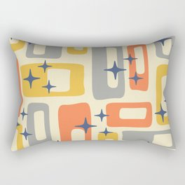 Retro Mid Century Modern Abstract Pattern 278 Yellow Orange Gray Rectangular Pillow
