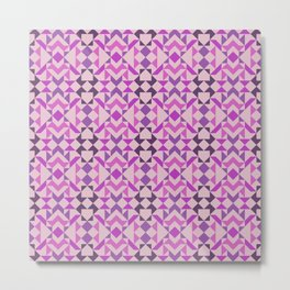 Tribal Triangles Quilt - pink shaded, purple, violet, tone on tone Metal Print