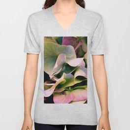 pink and green hydrangea Unisex V-Neck