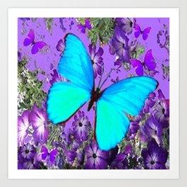 BLUE BUTTERFLY PURPLE DREAMSCAPE DECORATIVE ART Art Print