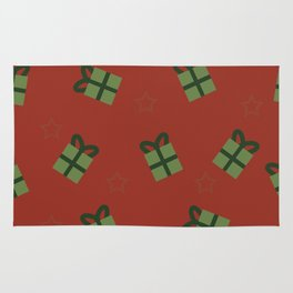 Gifts and stars - red and green Rug