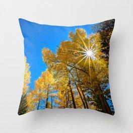 THE AUTUMN SUN COLORADO ASPEN TREE FALL LANDSCAPE  Throw Pillow