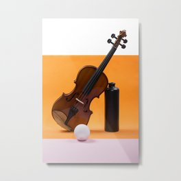 Still-life with a violin, a ball and a dark bottle Metal Print