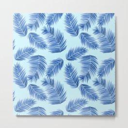 Tropical Palm Leaves - Light Blue and Indigo Palette Metal Print