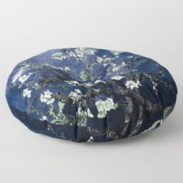 Vincent Van Gogh Almond Blossoms Dark Blue Floor Pillow