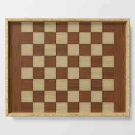 Wood Chess Board Serving Tray