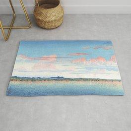 Red Clouds Over Mano Bay, Sado Island By Hasui Kawase - Vintage Japanese Woodblock Print Art Rug