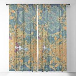 Orange and Green Flora Sheer Curtain