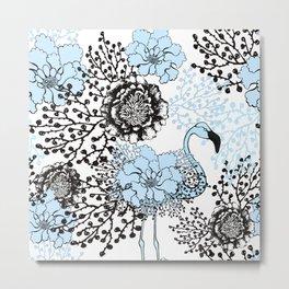 Blue flamingo & flowers. Metal Print
