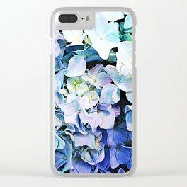 Soft Tri-Color Pastel Hydrangea Clear iPhone Case