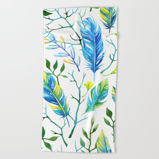 Feathers Pattern 05 Beach Towel