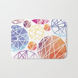 Watercolor Geometric Pattern Bath Mat