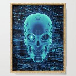 Gamer Skull BLUE TECH / 3D render of cyborg head Serving Tray