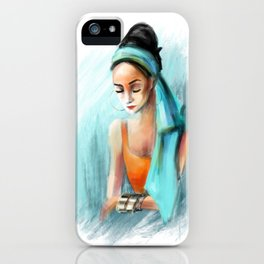Turquoise Head Scarf iPhone Case