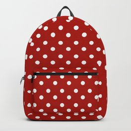 White & Red Navy Polkadot Pattern Backpack