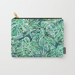 JUNGLE VIBES Green Monstera Watercolor Print Carry-All Pouch