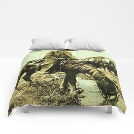 Western Vintage Cowboy At The Watering Hole Comforters