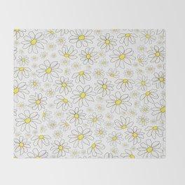 Picking Daisies - White Throw Blanket
