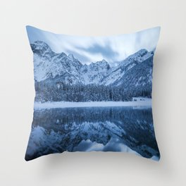 Majestic mountain Mangart reflection Fusine lake Italy Throw Pillow