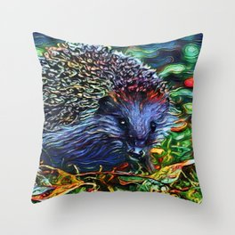 Dreamworld Hedgehog   Painting Throw Pillow