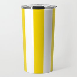 Sprint Yellow - solid color - white vertical lines pattern Travel Mug
