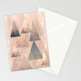 Pastel Abstract Textured Triangle Design Stationery Cards