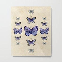 Vintage old-fashioned butterflies  Metal Print