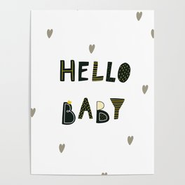 Hello Baby Cute Dinozaurus poster with hearts Poster