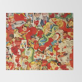 Vintage Valentine Cards - Love, Humor, Funny, Mermaids, Seahorse, Red Hearts,Couples, Reto Inspired Throw Blanket