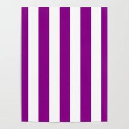 Mardi Gras violet - solid color - white vertical lines pattern Poster