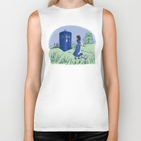 hallion Biker Tanks featuring Adventure in the Great Wide Somewhere by Karen Hallion Illustrations