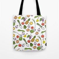 vegetable Tote Bags featuring Vegetable Garden by AmiDolls