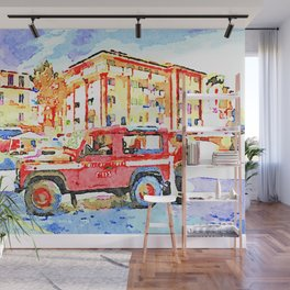 L'Aquila: red cars and orange building Wall Mural