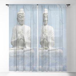 Buddha in Clouds Sheer Curtain