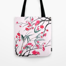 bamboo and red plum flowers in pink background Tote Bag