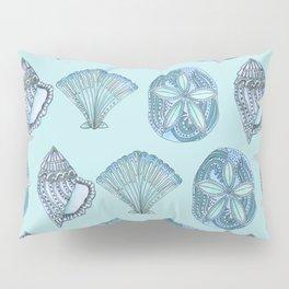 Watercolor Seashells Aqua Background  Pillow Sham