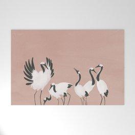 Crane Dance - Mauve Pink Welcome Mat