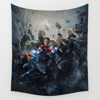 avenger Wall Tapestries featuring Avenger Assemblage Mosaic by Rachcox