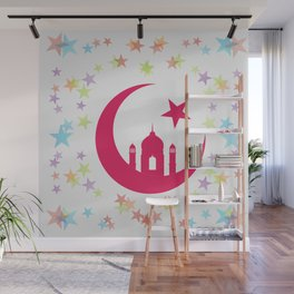 Mosque dome and minaret silhouette Wall Mural